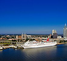 Mobile, Alabama Skyline - With Cruise Ship by Tad Denson