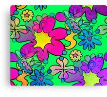 Retro Trippy Flowers-Bright Canvas Print