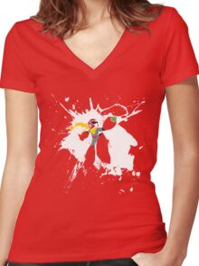 Protoman Paint Explosion Women's Fitted V-Neck T-Shirt
