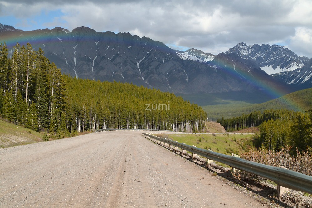 Rainbow above road by zumi