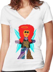 Rock Angel Rag Doll Women's Fitted V-Neck T-Shirt