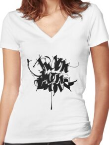 Japon, Mon Amour - Black Women's Fitted V-Neck T-Shirt
