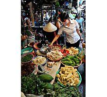 Woman shopping at fresh vegetable market. Vung Tau, Vietnam Photographic Print