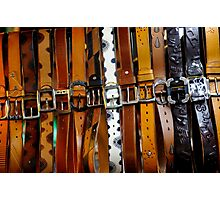 Leather belts for sale. Photographic Print