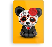 Red Day of the Dead Sugar Skull Panda on Yellow Metal Print