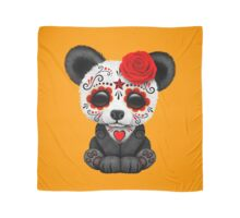 Red Day of the Dead Sugar Skull Panda on Yellow Scarf