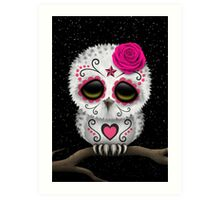 Cute Pink Day of the Dead Sugar Skull Owl Art Print