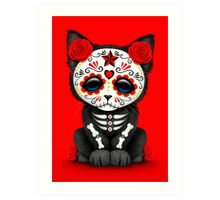 Cute Red Day of the Dead Kitten Cat Art Print
