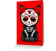 Cute Red Day of the Dead Kitten Cat Greeting Card