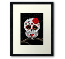 Cute Red Day of the Dead Sugar Skull Owl Framed Print