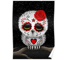Cute Red Day of the Dead Sugar Skull Owl Poster