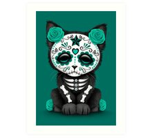 Cute Teal Blue Day of the Dead Kitten Cat Art Print