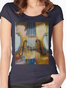 Violin Painting Women's Fitted Scoop T-Shirt