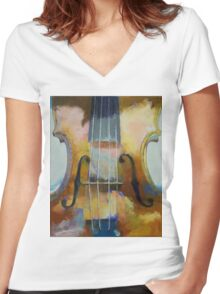 Violin Painting Women's Fitted V-Neck T-Shirt
