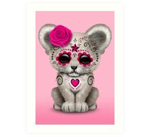 Pink Day of the Dead Sugar Skull White Lion Cub Art Print