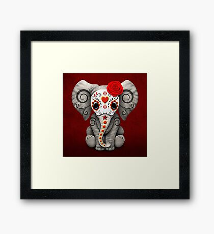 Red Day of the Dead Sugar Skull Baby Elephant Framed Print