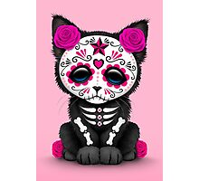 Cute Pink Day of the Dead Kitten Cat Photographic Print