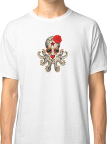 Red Day of the Dead Sugar Skull Baby Octopus Classic T-Shirt