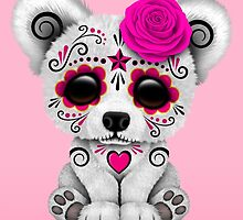 Pink Day of the Dead Sugar Skull Polar Bear  by Jeff Bartels