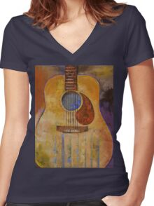 Acoustic Guitar Women's Fitted V-Neck T-Shirt