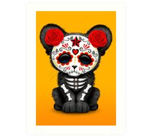 Red Day of the Dead Sugar Skull Panther Cub Art Print