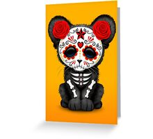 Red Day of the Dead Sugar Skull Panther Cub Greeting Card