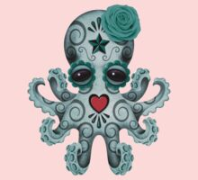 Blue Day of the Dead Sugar Skull Baby Octopus One Piece - Long Sleeve