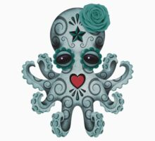 Blue Day of the Dead Sugar Skull Baby Octopus Kids Tee