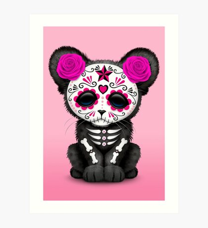 Pink Day of the Dead Sugar Skull Panther Cub Art Print