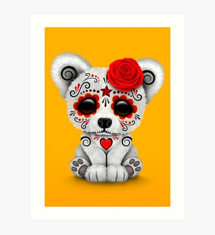 Red Day of the Dead Sugar Skull Polar Bear on Yellow Art Print