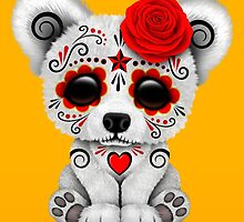 Red Day of the Dead Sugar Skull Polar Bear on Yellow by Jeff Bartels