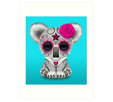 Pink Day of the Dead Sugar Skull Baby Koala Art Print