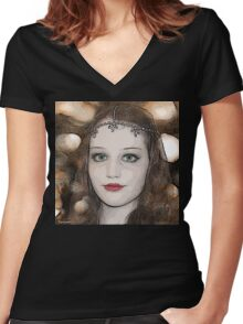Step Back in Time Women's Fitted V-Neck T-Shirt
