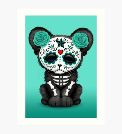 Teal Blue Day of the Dead Sugar Skull Panther Cub Art Print