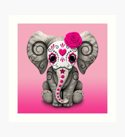 Pink Day of the Dead Sugar Skull Baby Elephant Art Print