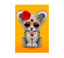 Red Day of the Dead Sugar Skull White Lion Cub Art Print