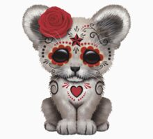 Red Day of the Dead Sugar Skull White Lion Cub Kids Clothes