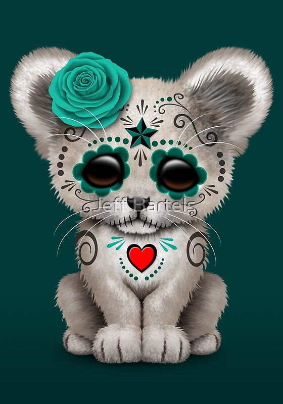 Quot Teal Blue Day Of The Dead Sugar Skull White Lion Cub Quot Art