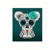 Teal Blue Day of the Dead Sugar Skull Baby Koala Art Print