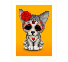 Red Day of the Dead Sugar Skull Wolf Cub Art Print