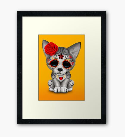 Red Day of the Dead Sugar Skull Wolf Cub Framed Print