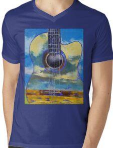 Guitar and Clouds Mens V-Neck T-Shirt
