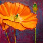 Poppy dance, mixed media on canvas by Sandrine Pelissier