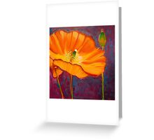 Poppy dance, mixed media on canvas Greeting Card