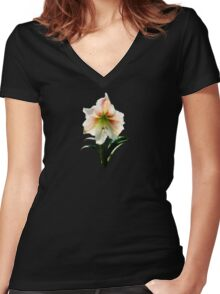 White Lily With Red Stripes Women's Fitted V-Neck T-Shirt
