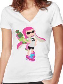 Inkling Girl (Pink) - Splatoon Women's Fitted V-Neck T-Shirt