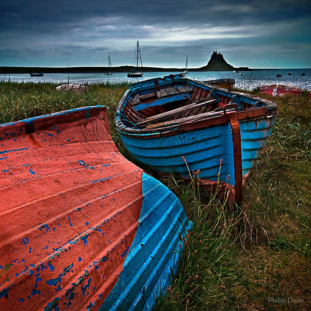 Fishing boats at Lindisfarne by Phillip Dove
