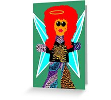 Little Rock n Roll Angel Rag Doll Wearing Mommy's Clothes 4 Greeting Card