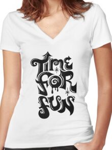 Time for fun - on lights Women's Fitted V-Neck T-Shirt