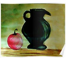 Black Ceramic Pitcher and Apple, watercolor Poster